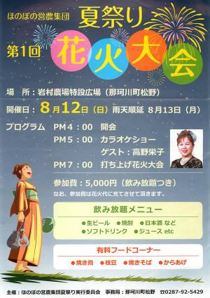 栃木県那珂川町 第1回 夏祭り花火大会